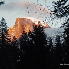 half dome, sunset, yosemite