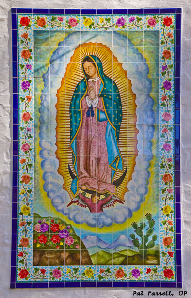 This tiled image of La Virgincita de Guadalupe adorns the exterior of the convent of the Sisters of the Presentation of the Blessed Virgin Mary, at their retreat center in Los Gatos.
