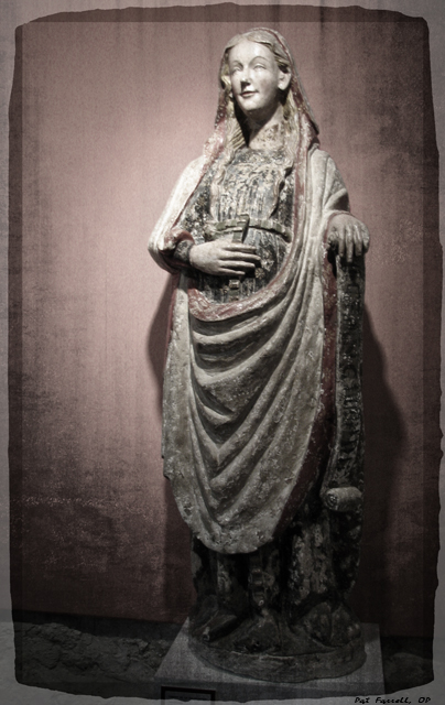 Mary's sense of peace, joy, and trust in God is evident in this ancient statue in Caleruega, Spain