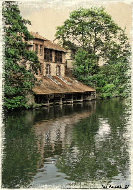 Trees surrounding a house on the river Eure in Chartres.