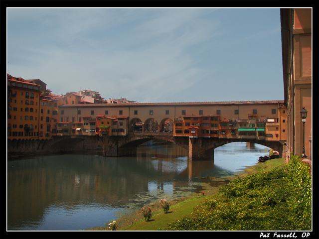 Bridges have often been powerful spiritual symbols. This one, Ponte Vecchio, in Florence, is one teeming with life and commerce - a powerful symbol to St. Catherine of Siena.
