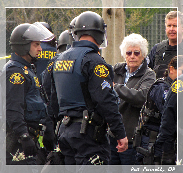 Sister Marion's commitment to the cause of peace allows her to be arrested at the Livermore Labs demonstration