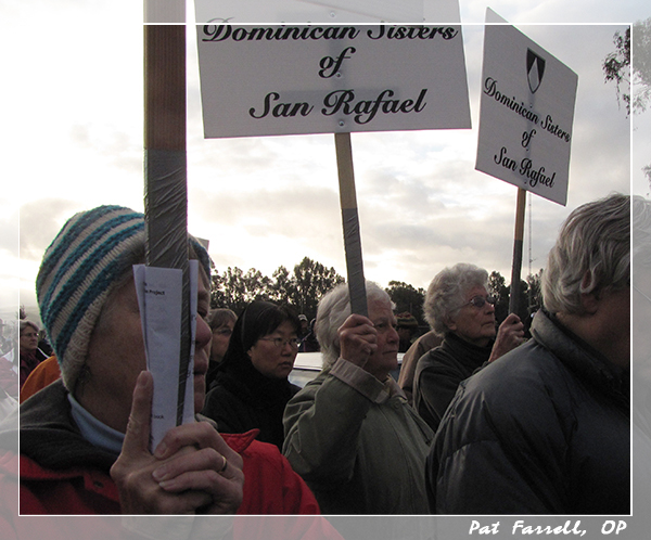 Sister Marion and other sisters at the annual anti-nuclear demonstration on Good Friday at Livermore Labs