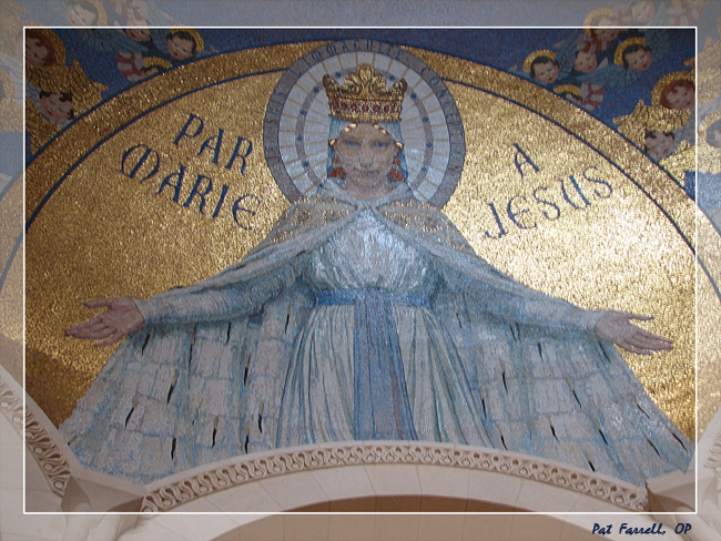 The welcoming arms of Mary from the mosaic in the dome of the basilica at Lourdes