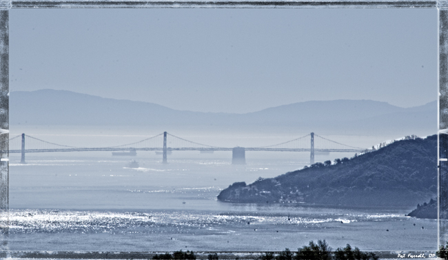 Oakland Bay Bridge - from trail above Dominican University - by the Nike Tower on Gold Hill