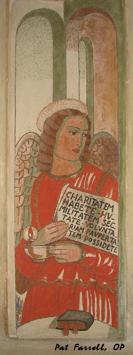"Here is an angel, from a fresco in the church of San Domenico in Bologna, receiving St. Dominic's  last will and testament. It reads: ""Have charity, guard humility, hold fast to voluntary poverty."""
