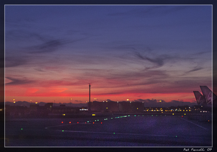 This is truly the color of the sky at the Dublin Airport. There's a little dodging of the foreground and a ND filter applied. Only it was an arrival, not a departure. Amazing!