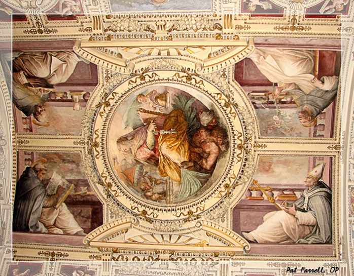 In this fresco from a ceiling in the Vatican, Mary is surrounded by Dominican saints