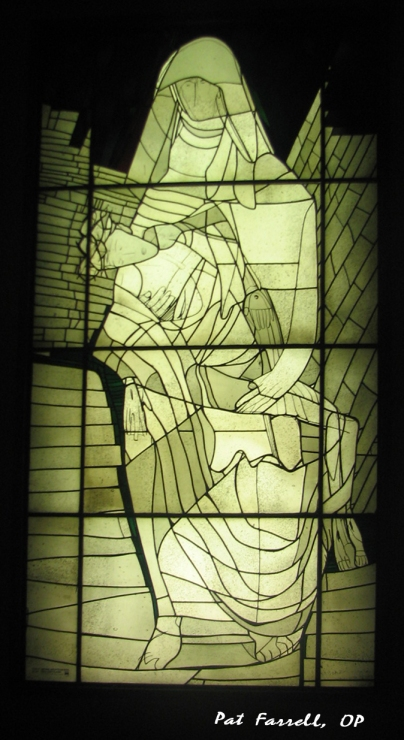 Stained glass of the Pieta from the Vatican Library in Vatican City