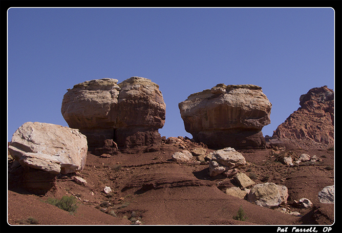 Rocks, shaped, but not moved, by the wind