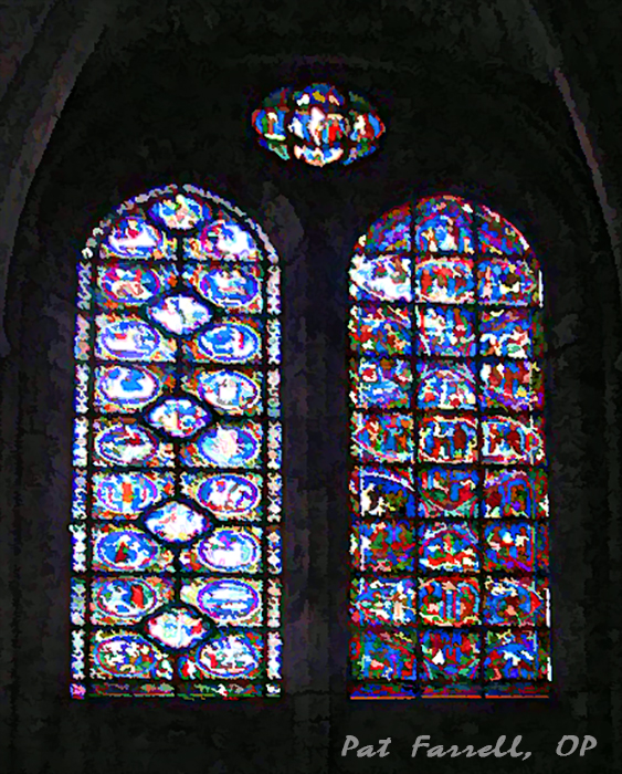 Stained glass window in the cathedral in Chartres, France