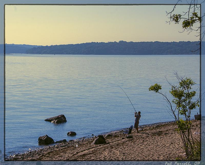 Fisherman at Target Rock on Long Island